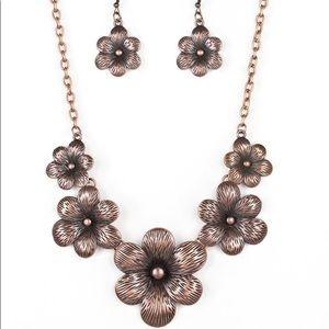 Copper Flower Bloom Necklace Set